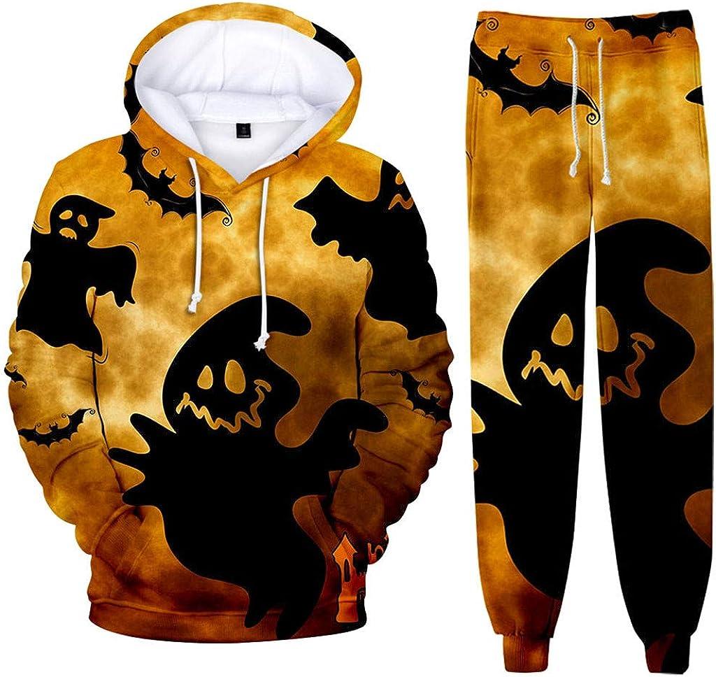 JSPOYOU Men's Full 3D Print Tracksuit 2 Pieces Halloween Pumpkin Bat Graphics Hooded Sweatsuits Athletic Jogging Suits Sets