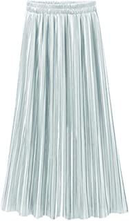 Casual Skirt for Women Vintage High Waist Long Solid Fashion Daily Pleated