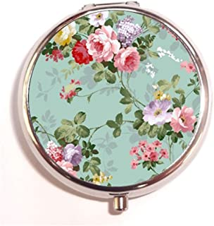 Vintage Floral Custom Round Silver Pill Box Pocket 2.1 inches Medicine Tablet Holder Organizer Case for Purse