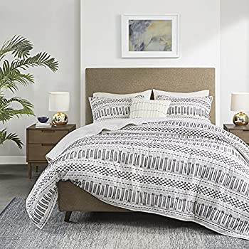 INK+IVY Rhea 100% Cotton Quilt Set - Mid Century Modern Embroidery Design All Season Lightweight Coverlet Bedspread Bedding Matching Shams Decorative Pillow Full/Queen White/Charcoal 4 Piece