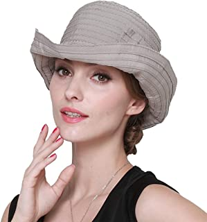 Sun Hats for Women Wide Brim Sun UV Protection Bucket Caps, Foldable Floppy Summer Beach Visor Hat with Removable Bowknot