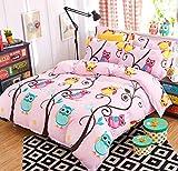 AShanlan Kinderbettwäsche Mädchen 135 x 200 Rosa 2 Teilig Eule 100% Mikrofaser Kinder Mädchen Bettbezug und Kopfkissenbezug 80x80 Pink Bunt Owl 135x200 cm