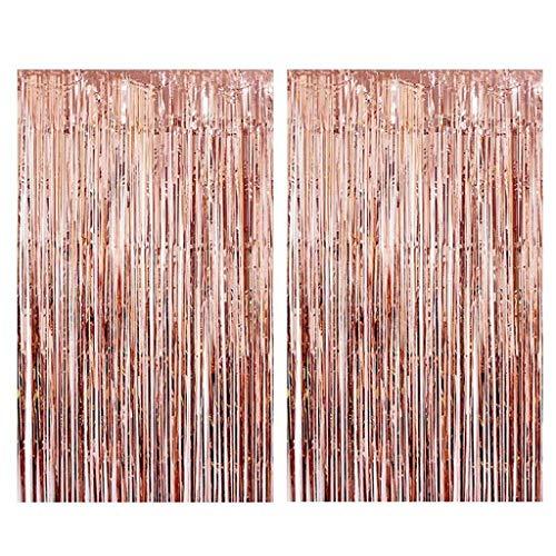 Tumao Rose Gold Metallic Tinsel Vorhänge, 2 Stück Folie Fringe Shimmer Vorhang,Geburtstag Dekorationen Party liefert Kit,Geburtstag Hochzeit Foto Booth Dekorationen.