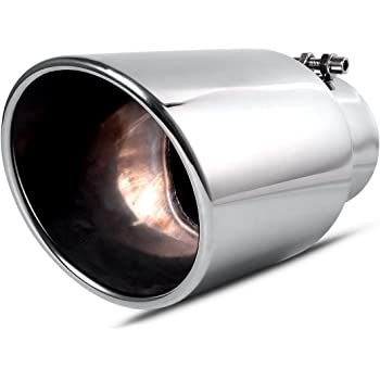 4 Inch Inlet Black Exhaust tip 4 x 6 x 15 Bolt//Clamp On Design Richeer Universal Stainless Steel Diesel Exhaust Tailpipe Tip for Truck Cars