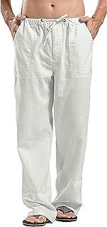 Men's Linen Casual Elastic Waist Pants for Kung Fu Tai Chi Yoga Beach