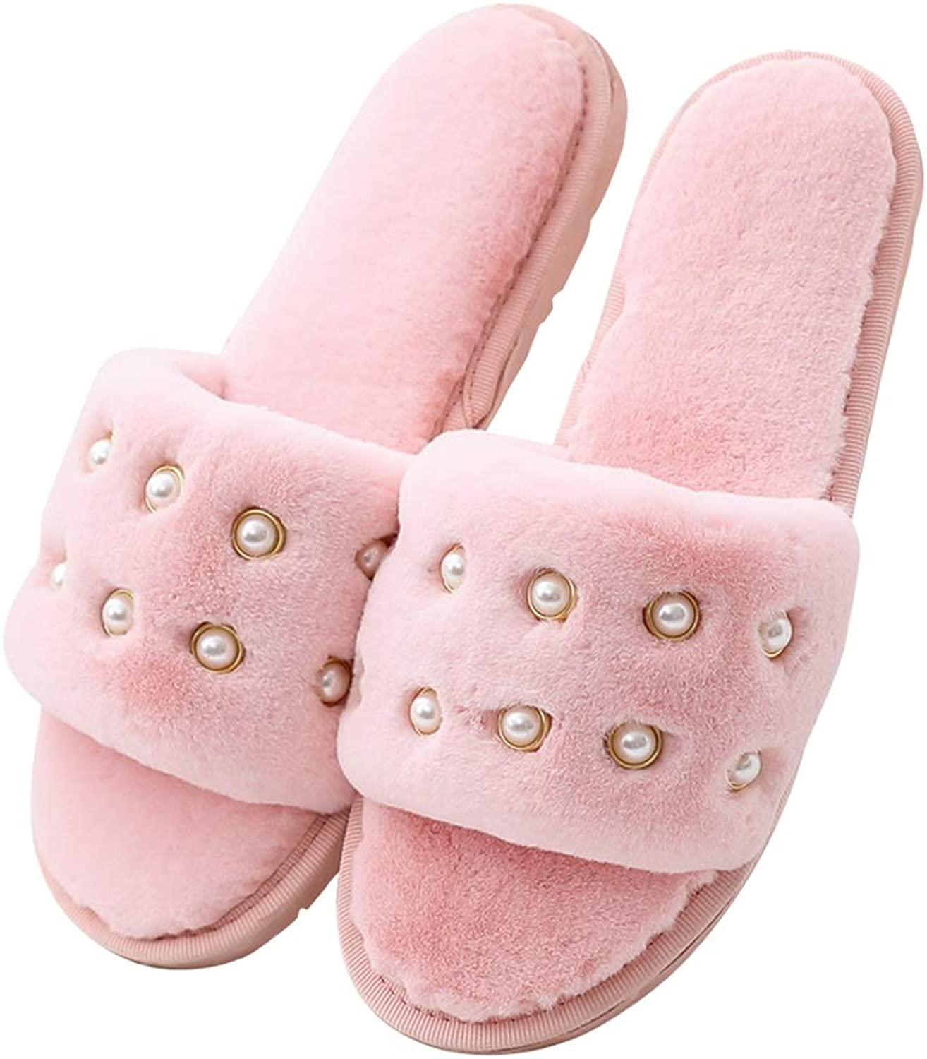 HUYP Cotton Slippers Female Winter Indoor Home Thick-Slip Wooden Floor (color   Pink, Size   5.5 US)