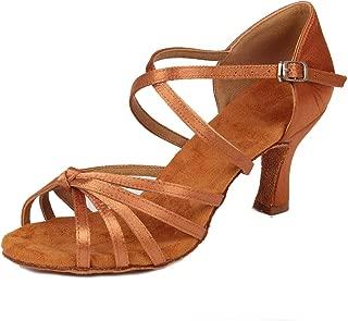 HIPPOSEUS Women Latin Dance Shoes with Cross Strap Ballroom Party Salsa Dancing Practice Performance Shoes,Model WZJ-CL