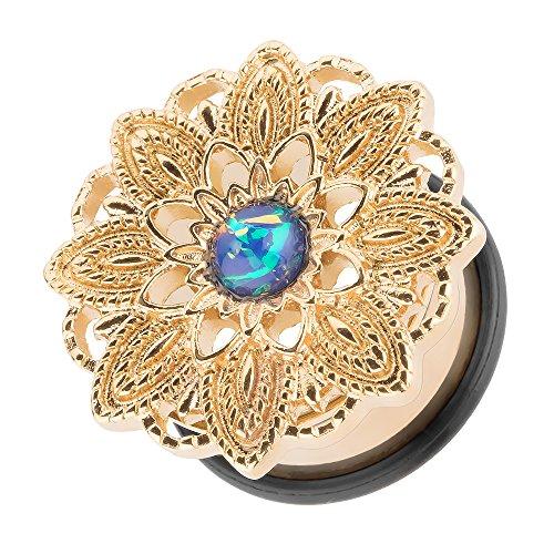 Piercingfaktor Flesh Tunnel Ohr Plug Piercing Ohrpiercing Vintage Tribal Ethno Boho Edelstahl Mandala Blume mit Opal Gold 16mm