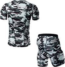 TUOYR Body Safe Guard Padded Compression Sports Short Sleeve Protective Camo T-Shirt Shoulder Rib Chest Protector Suit for Football Basketball Paintball Rugby Parkour Extreme Exercise