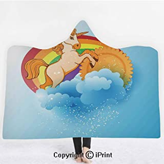 Unicorn Home and Kids Decor 3D Print Soft Hooded Blanket Adult Premium Throw Blanket,Lightweight Microfiber,Unicorn with a Single Horn Forehead on Sun Fluffy Clouds Art Print,All Season for Adult(60