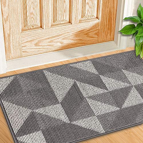 "YHOUSE Indoor Doormat Front Back Door Mat Rubber Backing Non Slip Door Mats Inside Floor Mud Dirt Trapper Mats Entrance Front Rug Shoes Mat Machine Washable Carpet (20""x 32"", Gray(Magic Geometry))"
