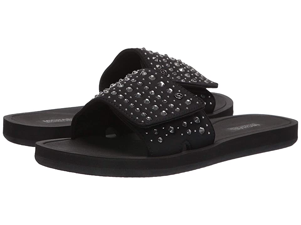 MICHAEL Michael Kors MK Slide (Black Scuba/Hot Fix Crystals/Studs) Women