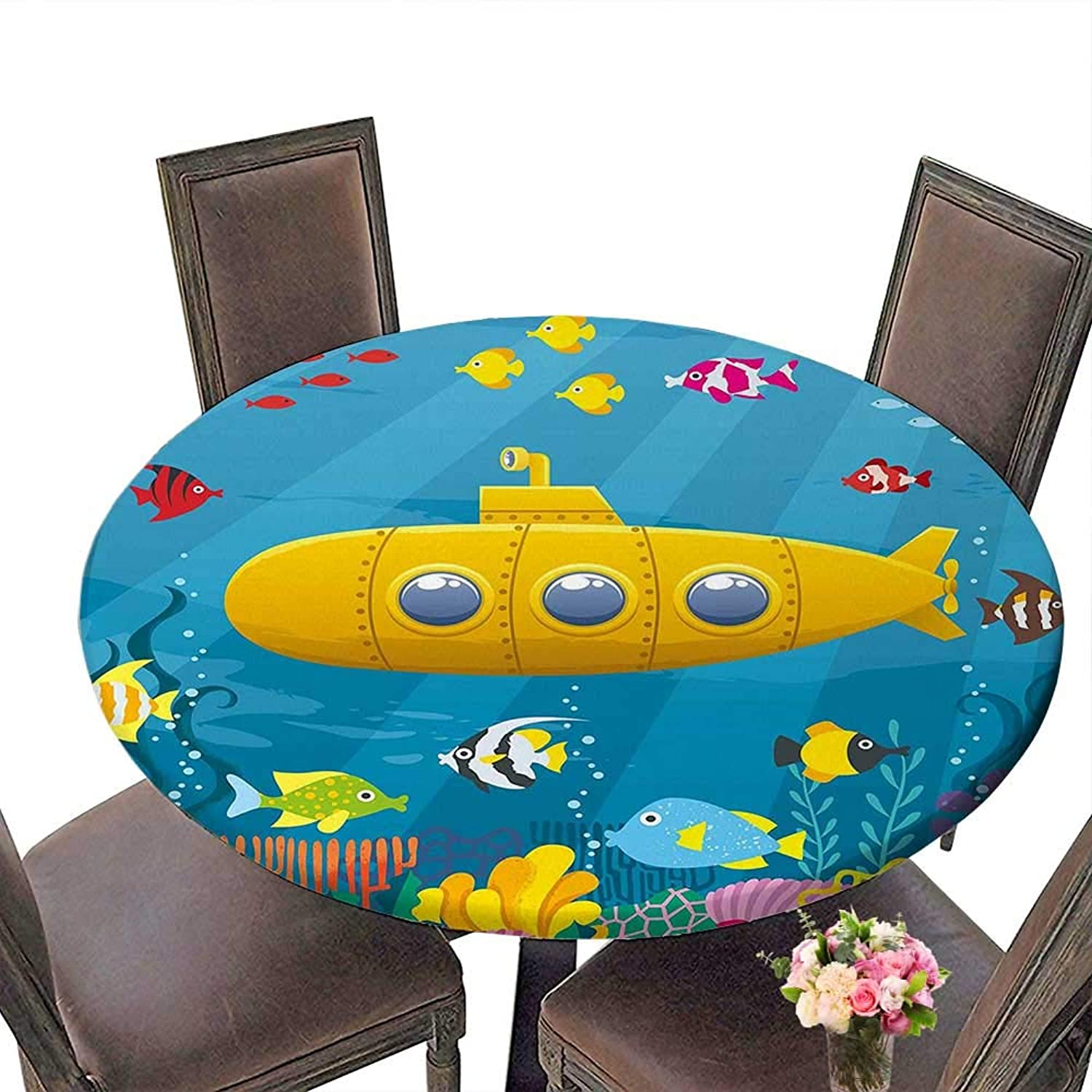RoundTable Cloth for Foot Table in Washable Polyester(Elastic Edge) suitable for all occasions, (72.5 round)Yellow Submarine Coral Reef with colorful Fish Ocean Life Marine Creatures Tropical Kids Bl