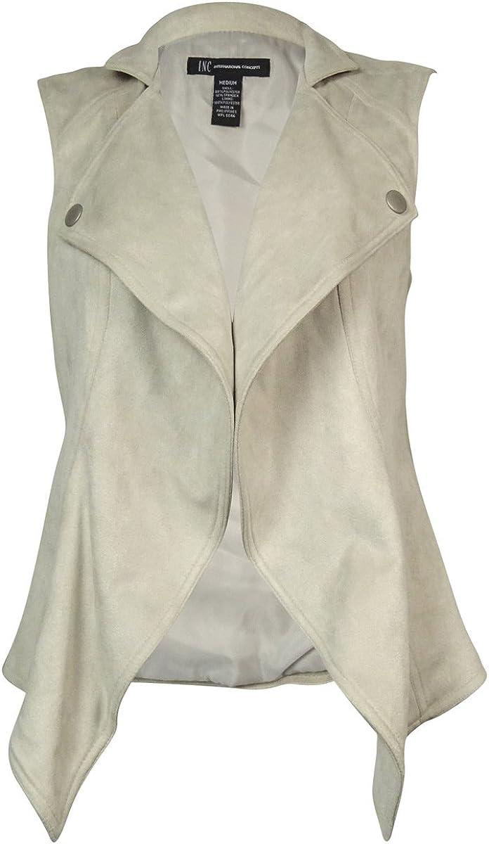 Daily bargain sale INC International Concepts Women's Vest Lar Draped Bombing free shipping Faux-Fur-Trim