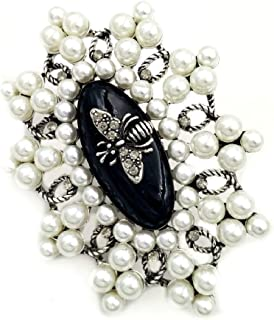 DREAMLANDSALES Vintage Imitated Pearls Cluster Bee Domed Black Enamel Oval Shaped Brooches Art Deco Pins