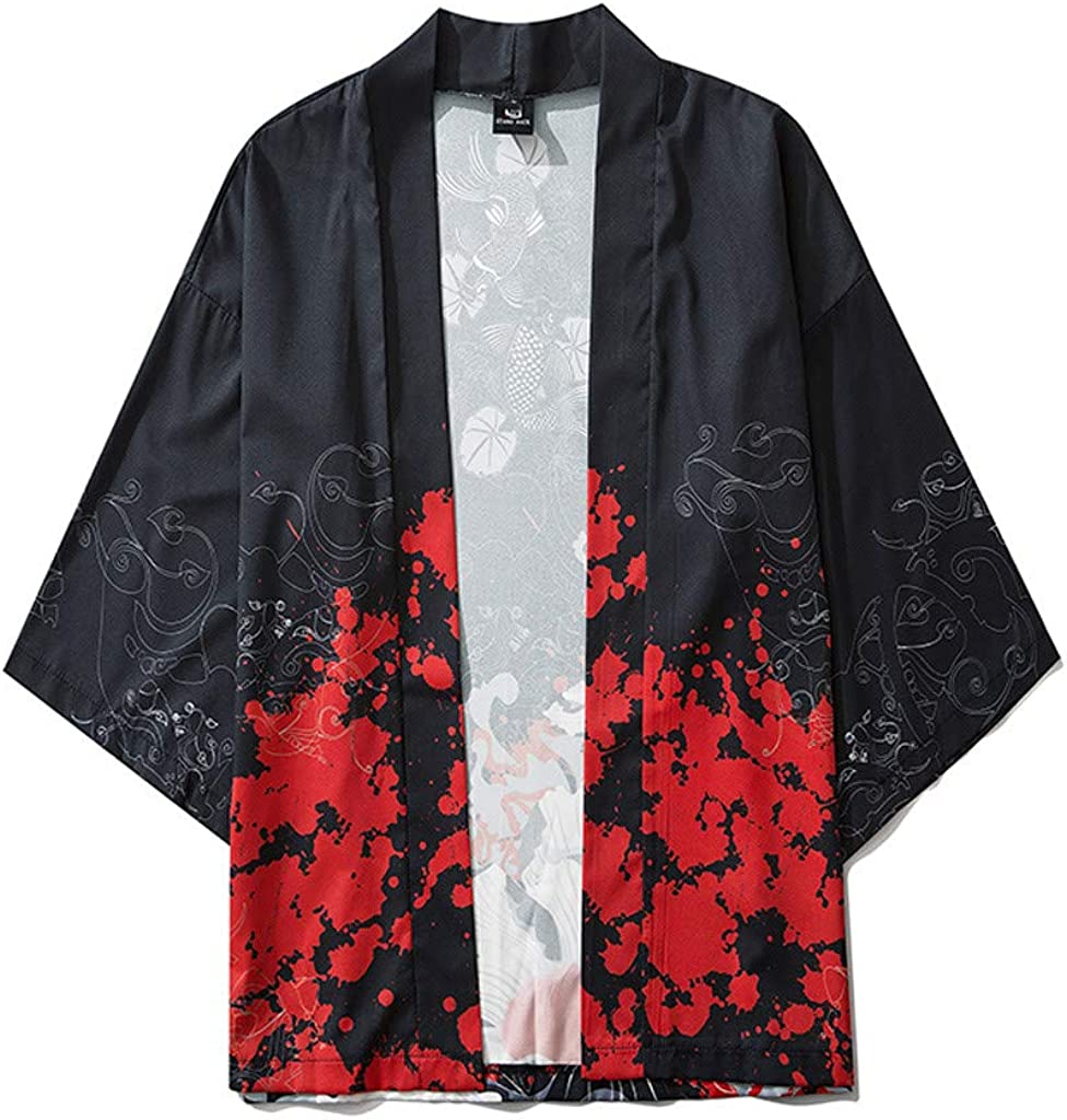 F_Gotal Mens Japanese Kimono Jackets Cardigan Casual Lightweight Seven Sleeves Open Front Coat Outwear Mens Womens Cloak