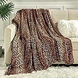 Viviland Flannel Fleece Blanket Throw Size 50x60, 280 GSM Lightweight Blanket for Couch Sofa Bed, Super Soft Cozy Warm Blanket, Leopard Print