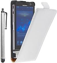 ebestStar - Funda Compatible con Sony Xperia U, Sony Ericsson ST25i Carcasa Ventana Vista Cover Cuero PU, Funda Libro Billetera + Lápiz, Blanco [Aparato: 112 x 54 x 12mm, 3.5'']