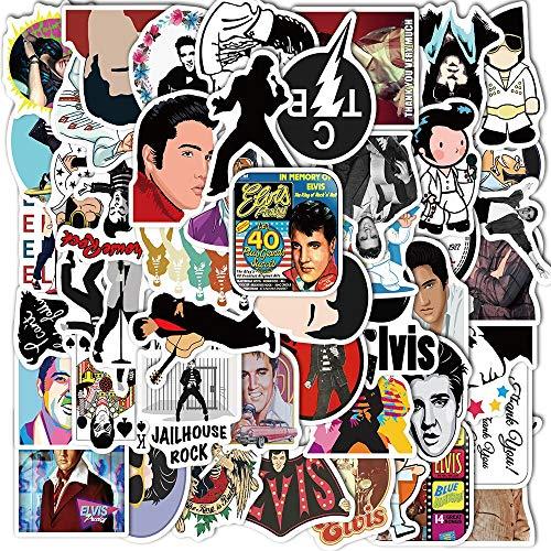 ZXXC 50Pcs Vintage Elvis Presley Stickers Pvc Waterproof Famous Rock Singer Decal For Diy Guitar Luggage Laptop Skateboard Sticker