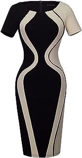 HOMEYEE Damen Damen Vintage Kontrastfarbe Sch/ö/ßchen figurbetontes B/ürokleid B554