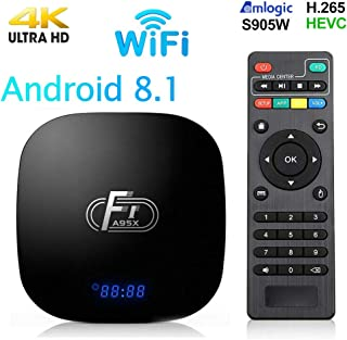 Android 8.1 TV Box,Smart Android Box 2+16GB ROM Amlogic S905W Media Player,Support 2.4GHz WiFi 3D/1080P/4K Android Box with Remote Control