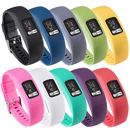 QGHXO Band for Garmin Vivofit 4, Soft Silicone Replacement Watch Band Strap for Garmin Vivofit 4 Activity Tracker, Small, Large, Ten Colors (10PCS Bands, Small)