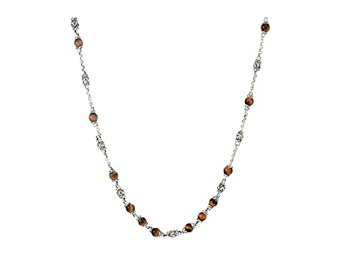 John Hardy Classic Chain Bead Necklace with 4mm Tiger Eye Gemstones