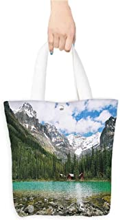 Grocery Bag Landscape Canada Ohara Lake Yoho National Park with Mountains Nature Scenery Art Photo Multicolor (W15.75 x L17.71 Inch)