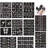 Jurxy 10 Hojas Kit de Plantilla de Tatuaje de Henna temporales Diseños de Arte Corporal Kit de Pegatinas Autoadhesivas Reutilizables Varios Patrones para Adultos Hombre Mujeres Niños Adolescente