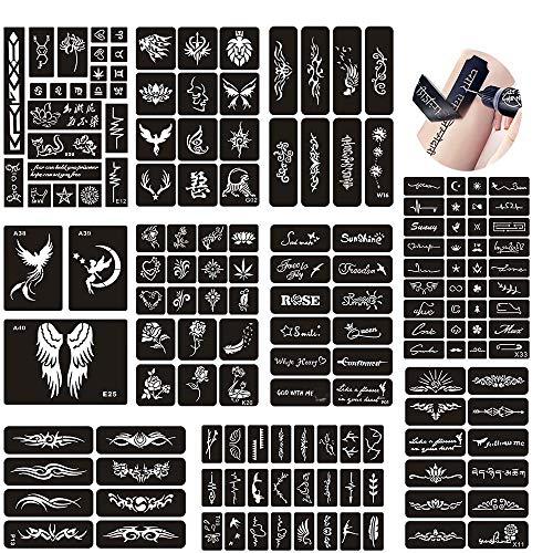 Jurxy 10 Blatt Tattoo Schablonen Glitter Temporäre Tätowierung Schwarz Selbstklebende Tattoos Schablone Arm Zurück Körperbemalung Wiederverwendbare Aufkleber für Männer Frau Kinder Mädchen