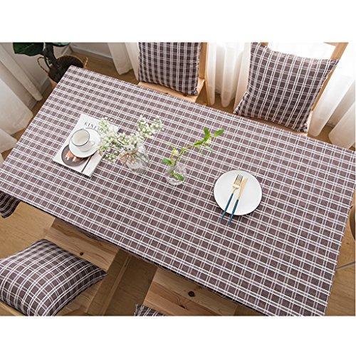 Nappe à carreaux vintage classique coton et lin carré nappe style minimaliste moderne (Color : A Brown, Size : 130 * 200cm)