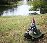 "Ebros Large 17.25"" Long Whimsical Travelling Mr Gnome On Giant Turtle Ride Decorative Statue"
