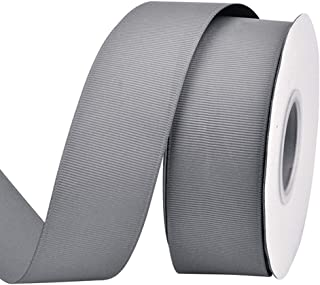 Ribest 1-1/2 inch 25 Yards Solid Grosgrain Ribbon Per Roll for DIY Hair Accessories Scrapbooking Gift Packaging Party Decoration Wedding Flowers Silver