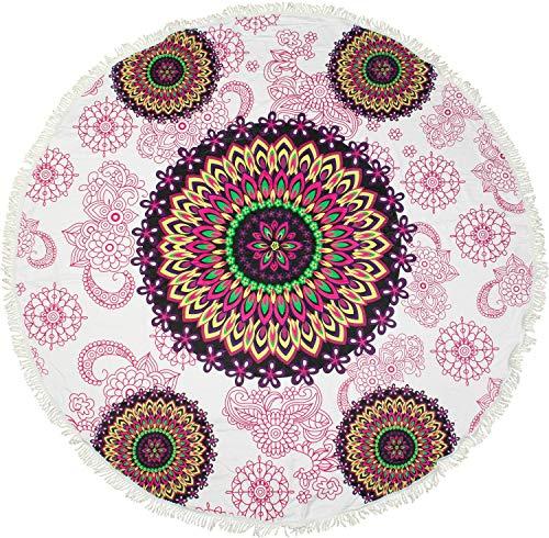 styleBREAKER rundes Strandtuch mit Paisley Ornament Muster im Ethno Style, Fransen Borte, Handtuch, Badetuch, Unisex 05050094, Farbe:Weiß-Bunt
