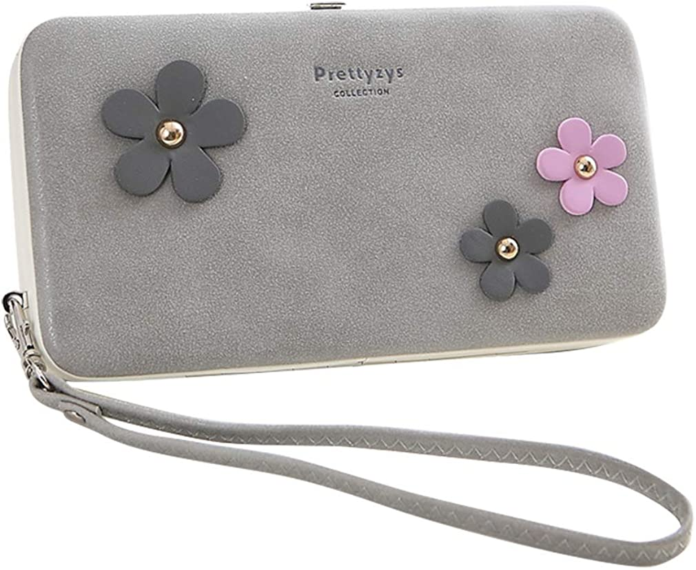 HeySun Floral Embossed Clutch Wallet with Wristlet for Girls Coin Purse Card Case