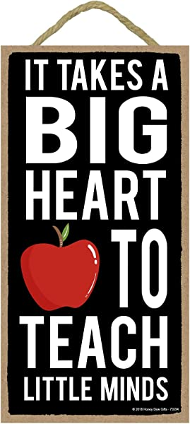 It Takes A Big Heart To Teach Little Minds 5 X 10 Inch Hanging Signs Wall Art Decorative Wood Sign Teacher Gifts