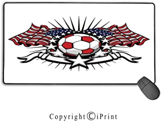 Extended Gaming Mouse pad with Stitched Edges,Sports Decor,Stars and Stripes Patriotic American Soccer with American Flags,Suitable for laptops, Computers, PCs, Keyboards,15.8
