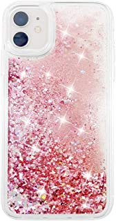 uCOLOR Rose Pink Glitter Case for iPhone 11 for Girls Sparkle Quicksand Waterfall Clear Fashion Women Protective Case for iPhone 11 6.1 inch 2019 Release