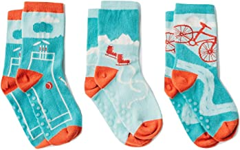 Organic toddler baby and kids socks with seamless toes, kids socks with grips or anti-slip for sensory boy or girl