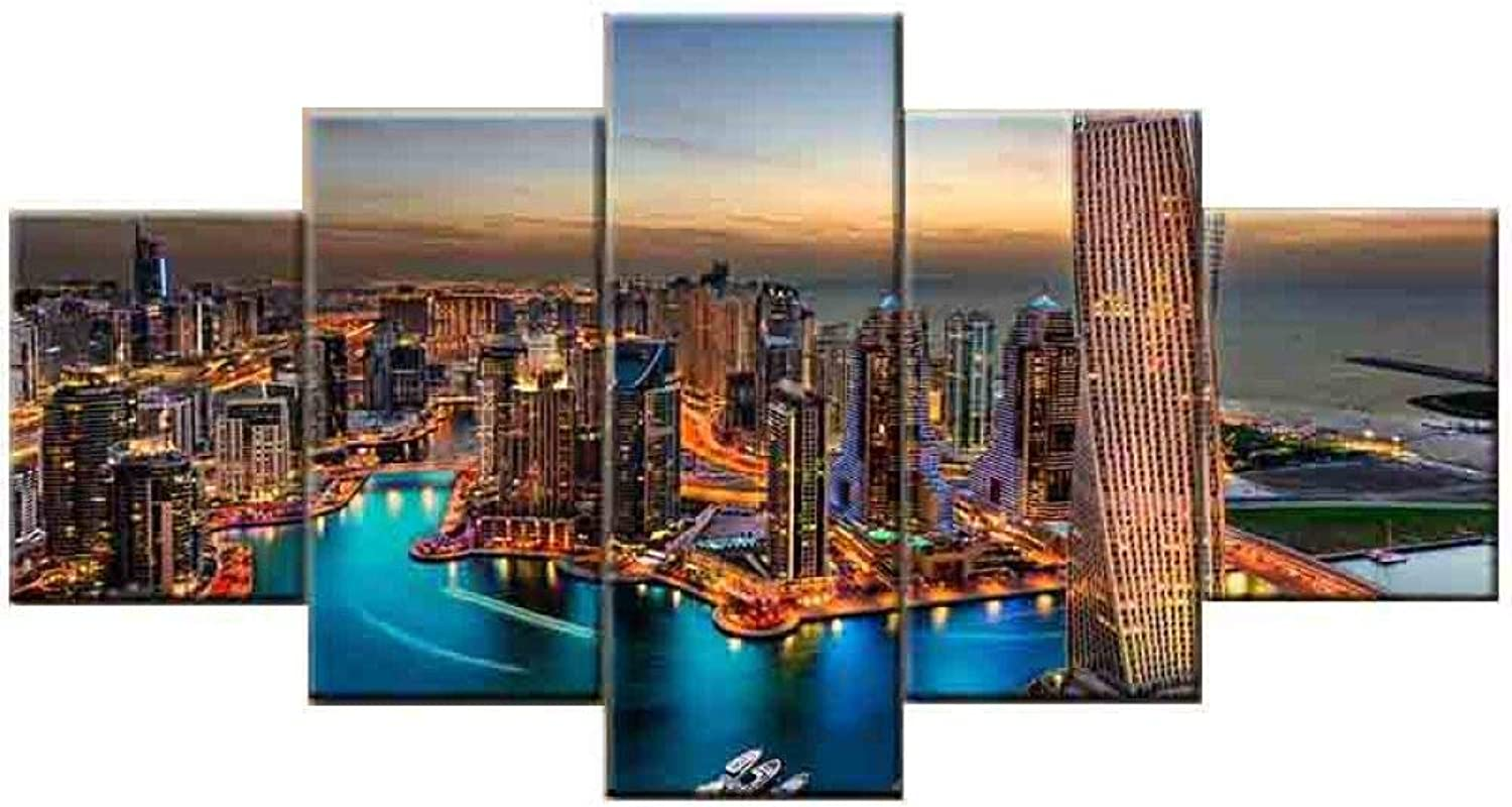 BBG Landscape Beach Decorative Painting,Painting Frameless Painting Canvas Painting Core 5 Pieces Decorative Painting Living Room Bedroom Office Hotel B   90  150cm