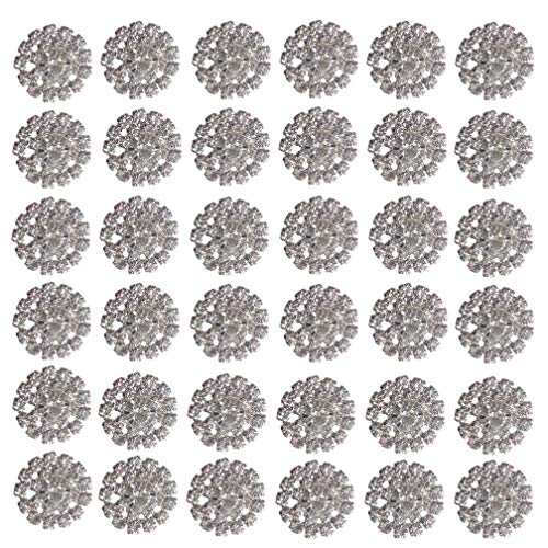 Arlai Pack of 36Pcs Silver Rhinestone Jewelry Crystal Flower Button Accessory, DIY Wedding Decoration, Hair Accessories
