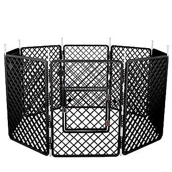Iris Ohyama, parc pour chien / cage d'extérieur /  enclos / chenil 8 éléments  - Pet Circle - H-908, plastique, gris foncé, 11,4 kg, 60 x 60 x 86 cm