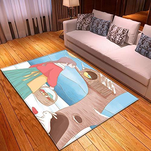 HJKGSX Alfombra De Salón Niña y pájaro Alfombra Pelo Corto Antideslizante Dormitorio Cuarto de los niños Fácil de Manejar 100 x 150 cm