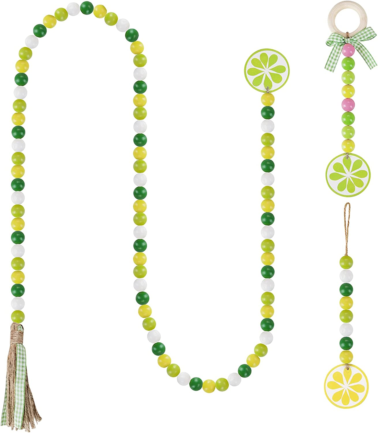 Cieovo 3 Pieces Oklahoma City Mall Lemon Wood Bead Tassels R Free shipping anywhere in the nation Garland with Farmhouse