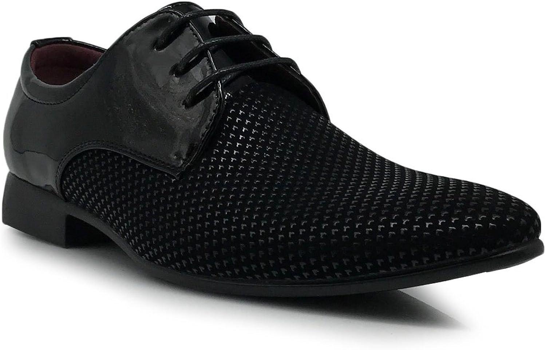 Enzo Romeo Romeo Romeo Plum04 herr svart vit Patent Classic Oxford Lace up Tuxedo Dress skor Checker Monogram Print  välj din favorit