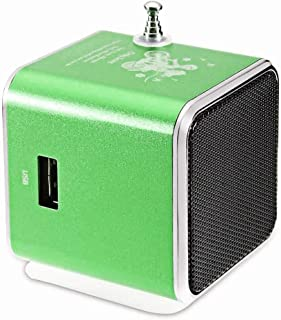 ZYZRYP Vapeonly FM Radio Speaker Portable Mini USB Stereo Speakers Digital LCD Music Player Support TF Card Loudspeaker for Phone PC (Color : Green)