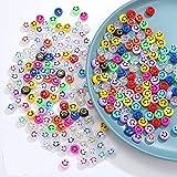 Lot de 200 perles de verre en forme de smiley pour la fabrication de bracelets pour Bracelets, Colliers, Fabrication De Bijoux