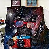 Bedsure Manta franela100x130cm Perro con Gafas de solmanta cama100% Microfibra Extra Suave Cálido Mantas Colcha Sofa Adecuada para Niños y Adultos -S