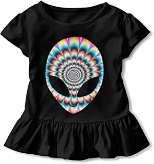 Toddler Baby Girl Trippy Cool Alien Funny Short Sleeve Cotton T Shirts Basic Tops Tee Clothes