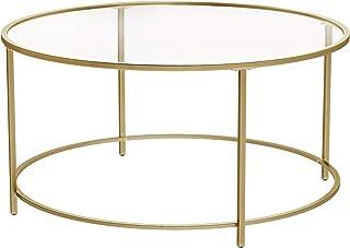 VASAGLE Table Basse Ronde, Dessus de Table en Verre trempé, Cadre en Acier, Table de Salon, Bout de canapé, décoratif, Dor...